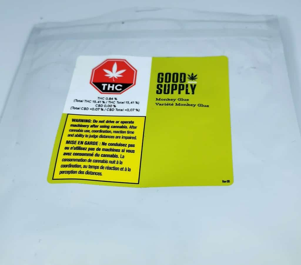 monkey glue strain review, picture of packaging