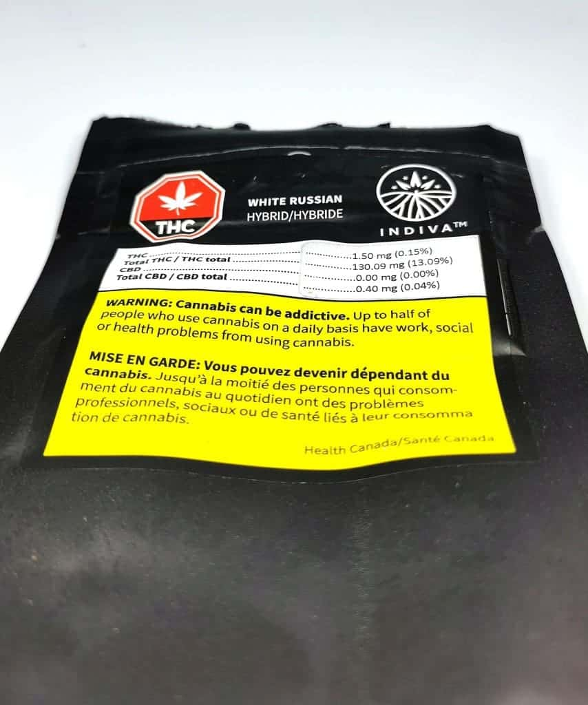 White Russian Strain Review (picture of packaging)