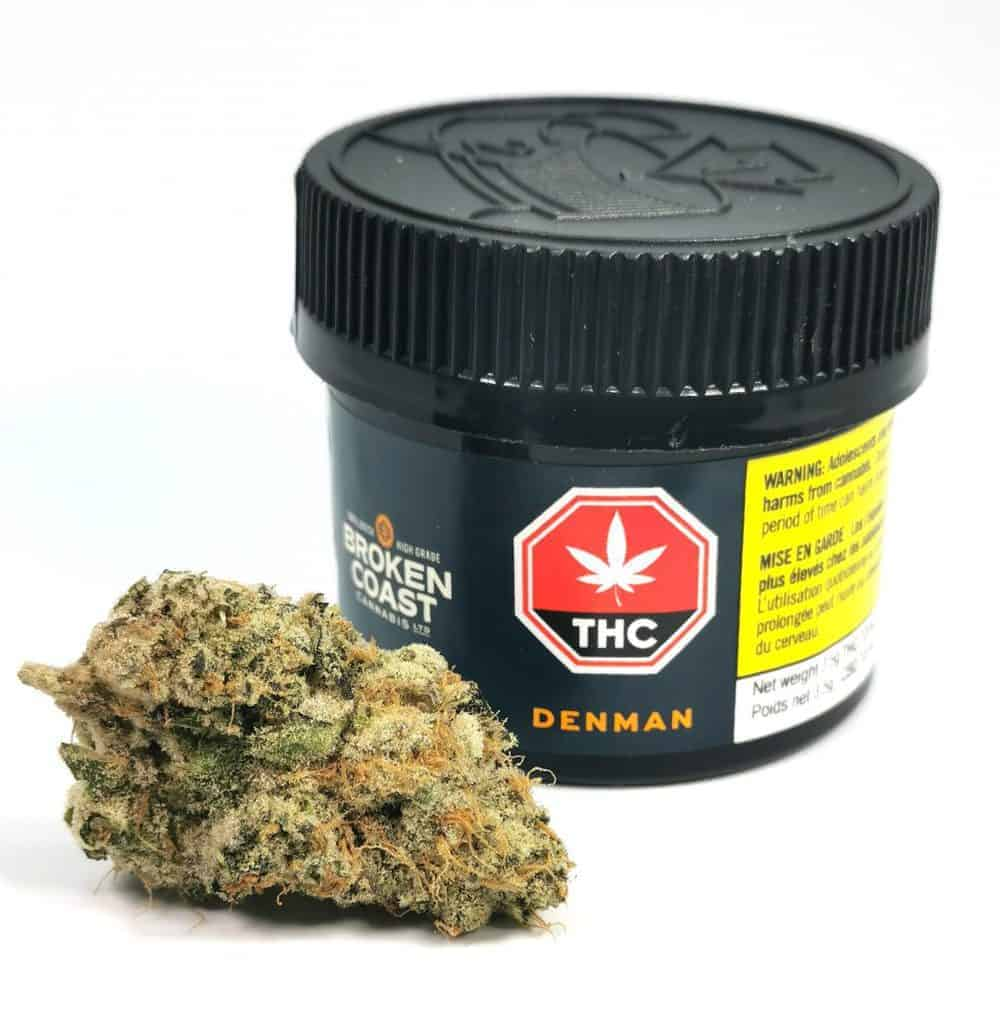 denman strain review picture of cannabis and container