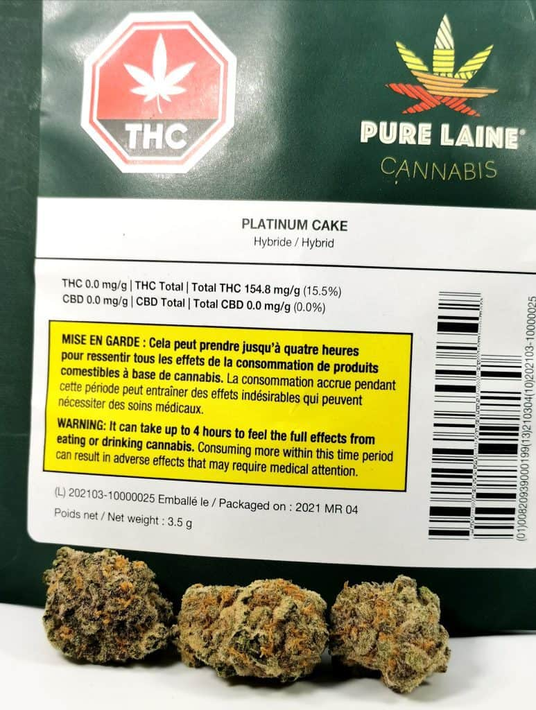platinum cake strain review picture of cannabis and packaging