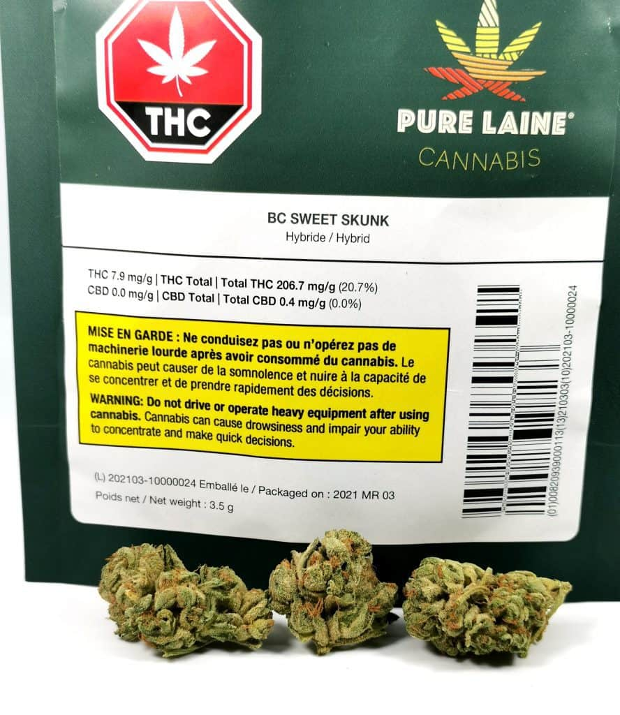 BC Sweet Skunk (Pure Laine Cannabis) strain review picture of packaging