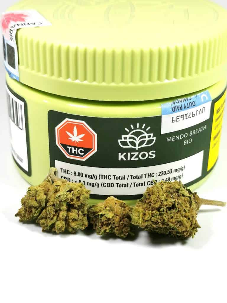 Mendo Breath (Kizos) picture of cannabis and packaging